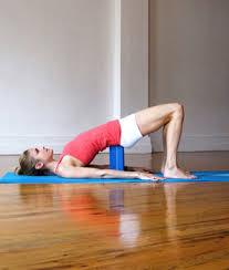 yoga, supported bridge pose