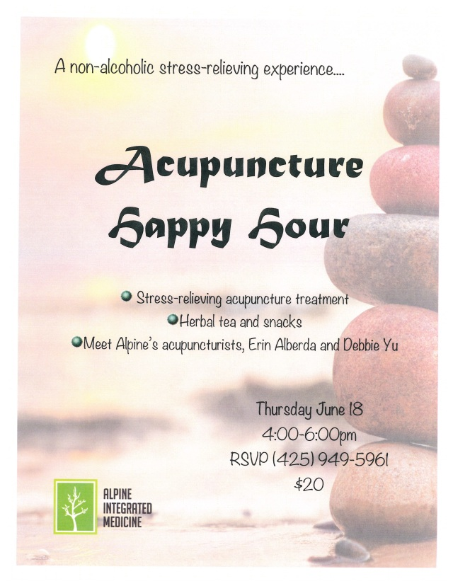 Acupucnture Happy Hour flyer, June 18th 2015 jpeg